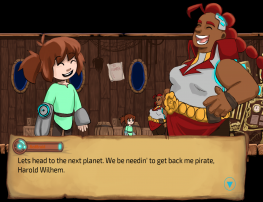 [Cartoon scene on a ship deck of a young girl (main character Ava) speaking with a cartoon woman (RedBraid, space pirate captain)  with a dialogue box in front of them that provides their written words.]