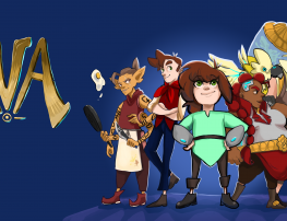 [Game title 'Ava' in gold letters next to a cartoon crew of space pirates, who are characters in the game]