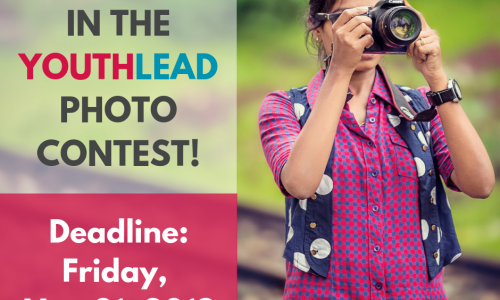 Announcement of YouthLead Photo Contest 2019, submission deadline: May 31, 2019 (photo: girl with camera)