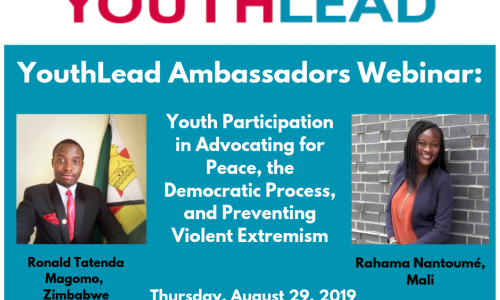 YouthLead Ambassadors Webinar: Youth Participation in Advocating for Peace, the Democratic Process, and Preventing Violent Extremism